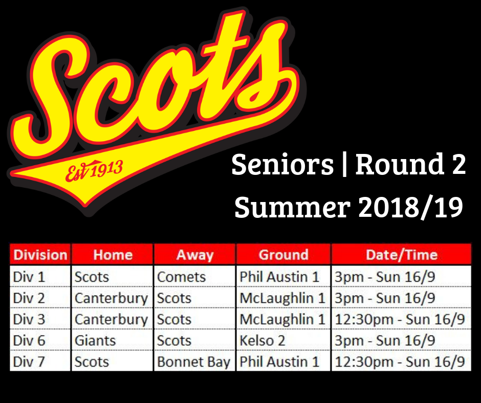 Seniors Round 2 Draw – Summer 18/19